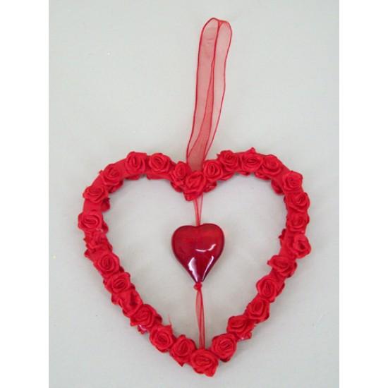 Ribbon Rose Heart Hanger - VAL004 LL2
