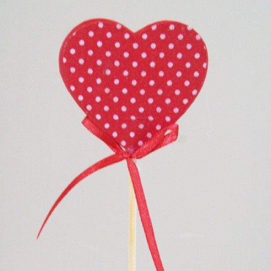 Red Wooden Heart Pick 44cm - VAL002