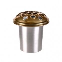 Silver Zinc Grave Pot with Gold Lid - GP003