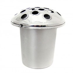 Silver Zinc Grave Pot with Silver Domed Lid - GP004