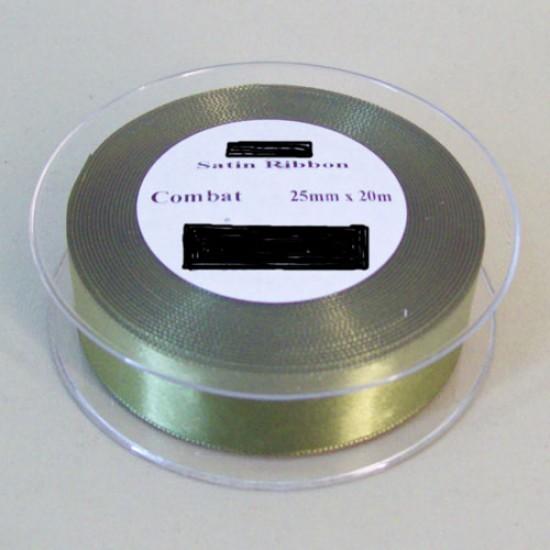 25mm Double Sided Satin Ribbon Khaki - DSR013