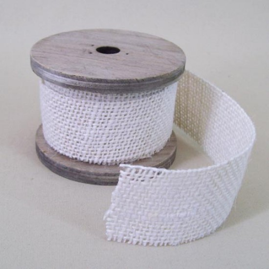 Burlap Hessian Ribbon on Wooden Spool 4cm x 3 Metres - RIB035a