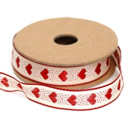 Rustic Ribbon Red Love Hearts 15mm x 4m - RIB036