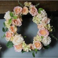 LilyJo Artificial Roses Wreath Blush Pink and Cream 50cm - R608