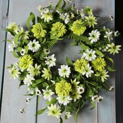 Artificial Meadow Flowers Wreath or Centerpiece White and Green - MF862W LL3