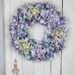 Artificial Hydrangeas Wreath Blue 48cm - H041 H3