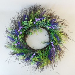 Artificial Lavender and Willow Wreath 60cm - LA012