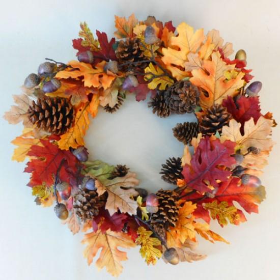 Artificial Oak Leaves Wreath Autumn - OAK004 II3