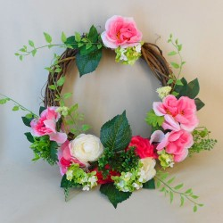 Artificial Roses Half Wreath Pink 56cm - R753