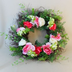 Artificial Roses Wreath Pink 66cm - R754