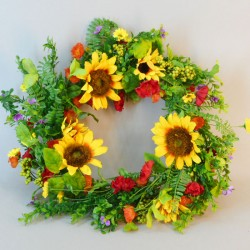 Artificial Sunflowers Wreath 55cm - S036 Q2