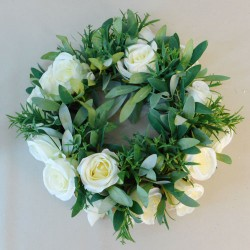 Artificial Eternity Roses and Leaves Wreath or Candle Ring - R012