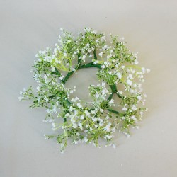 Finest Artificial Gypsophila Candle Rings White - G186 EE2