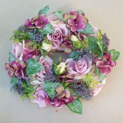 Lyla Cottage Garden Wreath Mauve Purple 27cm - R813 AA3