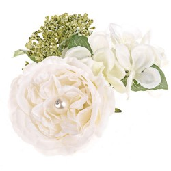 Pearl Wedding Artificial Flowers Candle Rings Ivory - PEA023 FF3