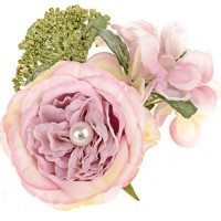 Pearl Wedding Artificial Flowers Candle Ring Pink - PEA022