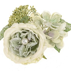 Pearl Wedding Artificial Flowers Candle Rings Sage Green - PEA024 FF3