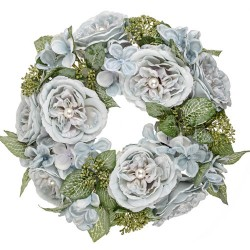 Pearl Wedding Artificial Flowers Wreath Blue - PEA001 N2