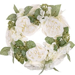 Pearl Wedding Artificial Flowers Wreath Ivory - PEA003 N2