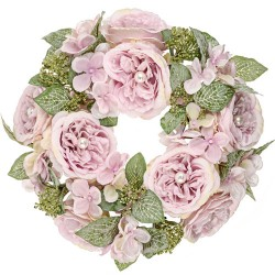 Pearl Wedding Artificial Flowers Wreath Pink - PEA002 N2