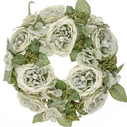 Pearl Wedding Artificial Flowers Wreath Sage Green - PEA004 N2