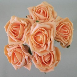 Colourfast Cottage Foam Roses Bundle Apricot 6 Pack - R328 T2