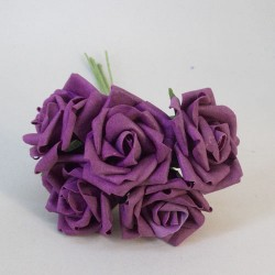 Colourfast Cottage Foam Roses Bundle Aubergine 5 Pack - R841
