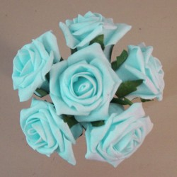 Colourfast Cottage Foam Roses Bundle Baby Blue 6 Pack - R854 T4
