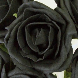 Colourfast Cottage Foam Roses Bundle Black with Black Stems 6 Pack - R339a U2