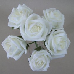 Colourfast Cottage Foam Roses Bundle White 6 Pack - R329 U2
