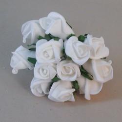 Colourfast Foam Roses White Bud 12 pack - R182 U3