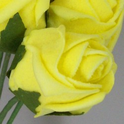 Colourfast Foam Rose Buds Yellow 8 pack - R365 BX8