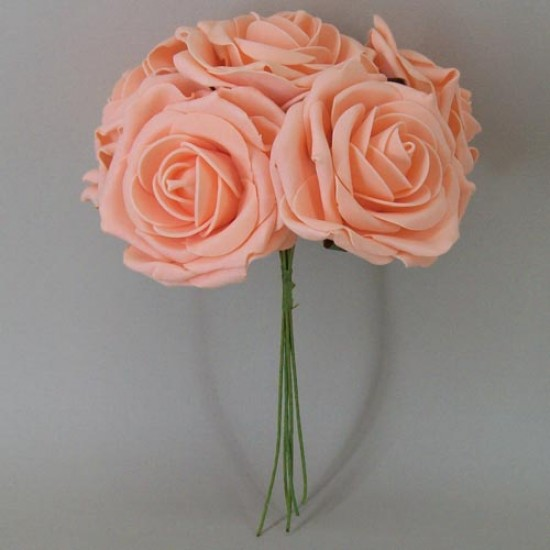 Colourfast Foam Roses Large Apricot 5 Pack - R332 T3