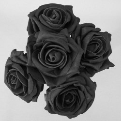 Colourfast Foam Roses Large Black 5 Pack - R331 BX9