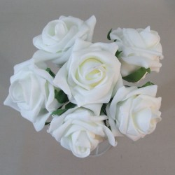 Colourfast Foam Roses  Large Ivory 6 Pack - R333 T1