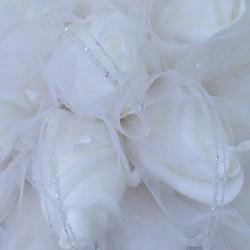 Colourfast Foam Roses Sparkle Bridesmaids Posy White White - R347 BX16