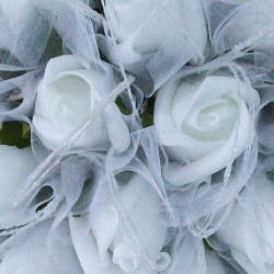 Colourfast Foam Roses Sparkle Large Bridal Bouquet White Green - R353 S3