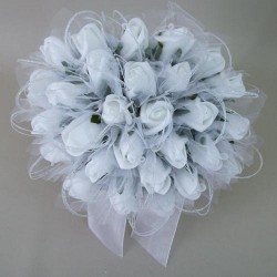 Colourfast Foam Roses Sparkle Large Bridal Posy White Green - R350 BX16