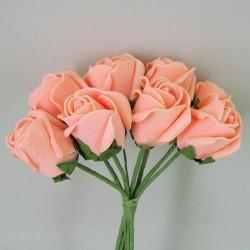 Foam Rose Buds Apricot 8 pack - R359 U3