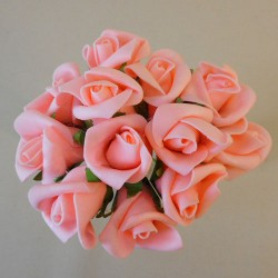 Colourfast Foam Rose Buds Peach 12 pack - R635 T1