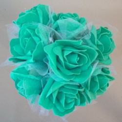 Foam Roses with Tulle Posy Jade Green Small - R614 T4