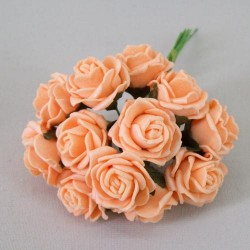 Tiny Foam Roses Bunch Colourfast Apricot - R371 S4