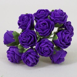 Tiny Foam Roses Bunch Colourfast Purple - R370 BX10