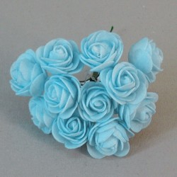 Mini Princess Foam Roses Bunch Baby Blue x 12 - R719 S3