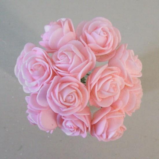 Mini Princess Foam Roses Bunch Baby Pink x 12 - R681 S3