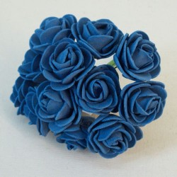 Mini Princess Foam Roses Bunch Blue x 12 - R718 S3