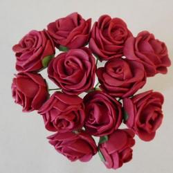 Mini Princess Foam Roses Bunch Burgundy x 12 - R611 U3