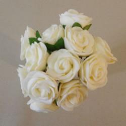 Mini Princess Foam Roses Bunch Cream x 12 - R615 T1