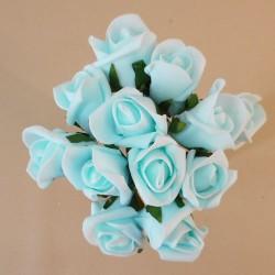 Colourfast Foam Rose Buds Light Blue 12 pack - R361 T1