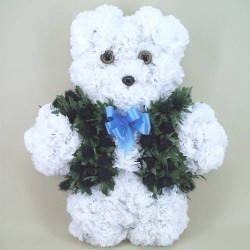 Artificial Flowers Teddy Bear with Waistcoat Funeral Tribute - AF020